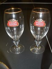 2  STELLA ARTOIS BELGIUM BEER GLASSES GOLD RIMMED CHALICES 40 CL