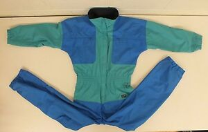 SKYR Blue & Green Fabric Lined Shell-Style Ski/Snowsuit US Women's 12 GREAT LOOK