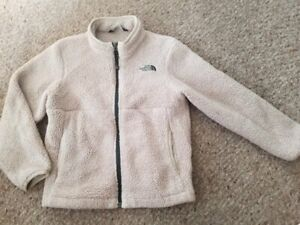 THE NORTH FACE Tan Sherpa Fleece Zip Front Jacket Size 6