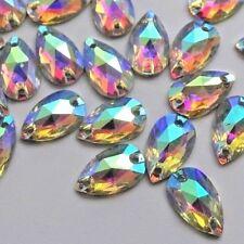 5deaee7cbeef 70pcs Crystal AB Tear Drop 8x12mm Acrylic Strass Flatback Rhinestone Sew-on