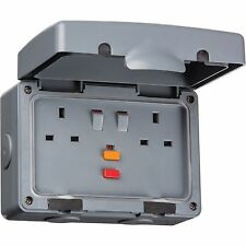 Knightsbridge 2 Tomas 13 Amp Doble Exterior RCD Individual Eléctrico Enchufe