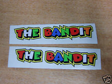 "Valentino Rossi style text - ""THE BANDIT""  x2 stickers / decals  - 5in x 1in"