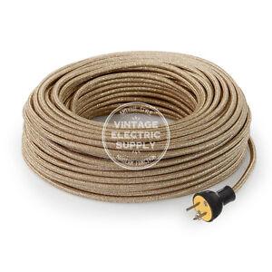 Gold Glitter Cordset - Cloth Covered Rewire Set - Antique Lamp & Fan Cord