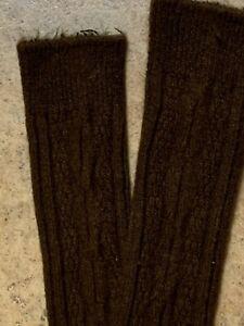 Vtg Nylon Acrylic KNEE HIGH Socks BROWN Cable Knit XS