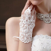 White/Ivory Fingerless Bridal Wedding Gloves Lace Short Paragraph Rhinestone
