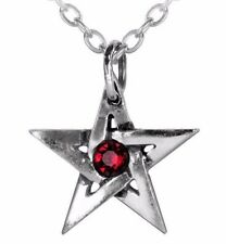 Red Crystal Center Protective Amulet Pentagram Pendant Alchemy Gothic P365