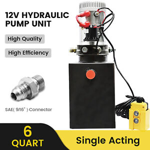DC HOUSE 12V DC Single Acting Hydraulic Power pack Truck Trailer 6L Tank UK