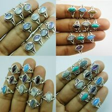 1000 pcs Wholesale lot 925 Sterling Silver overlay mix color Gemstone Ring