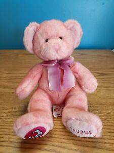 """Russ Berrie Taurus Pink Zodiac Teddy Bear doll 10"""" plush bean bag"""