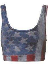 Topshop UK 14 American Flag Graphic Print Bralet/Crop Top Summer Blue New BNWT