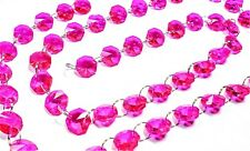 1 Yard Fuchsia Pink Chandelier Crystals Garland Prisms with Silver Rings