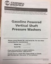 CAMPBELL HAUSFELD GASOLINE POWERED VERTICAL SHAFT PRESSURE WASHERS 1549