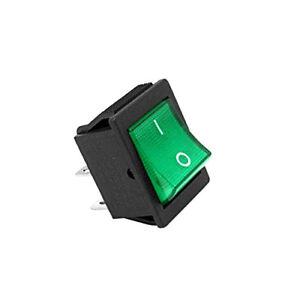 2 X GREEN SINGLE POLE TOGGLE LIGHT INDICATOR 16A 240V ON/OFF SPDT SK0983 A31GR