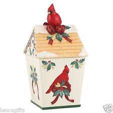 Lenox Winter Greetings Cardinal Bird House Cookie Jar new in Box free ship