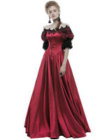 Punk Rave Gothic Wedding Prom Dress Long Red Steampunk Victorian Prom Ballgown