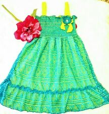 Forever Me Girl's sundress spring blue yellow Dress Size 5 Nwt lace long shirt