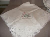 VINTAGE IRISH LINEN EMBROIDERED AND LACE TABLECLOTH FLOWERS