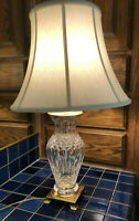 "Large Waterford Crystal Brass Electric 27"" Table Lamp w Shade Ireland Vintage"