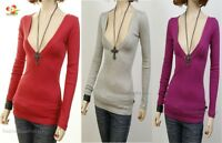 G3 Outlaw Long Sleeve Cotton Stretch deep V-Neck Knit Top Fitted Tee Shirt S M L