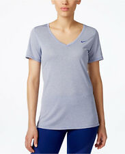 Nike Women's Size Medium Blue & White Stripe 2.0 Legend V-Neck Dri-Fit Tee NEW