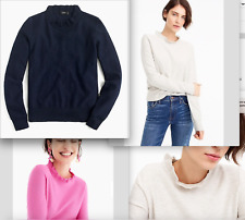 J.Crew Ruffle-neck pullover sweater-wool/cotton-H7191-NAVY-size XS, XXL