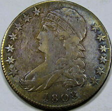 1808 O-107a Capped Bust Half AU+ Adam's Apple Variety!! Super Neat Coin, SCARCE!