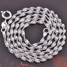 4Classic White Gold Filled 9K GF Water Wave Ladies Necklace Chain 450*3mm F2424