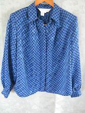 Vintage 1980's Sunny Leigh Blouse Size 12 Blue & Black Plaid Career Top