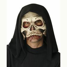 Skull Cranium Hooded Premium Half Face Latex Mask Halloween Costume Accessory