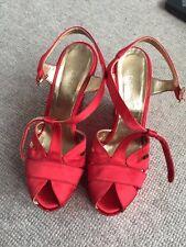 Lk Bennett Red Satin wedge shoes 38, sandals, weddings, parties, flatforms