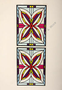 """24.4"""" x 9"""" Floral Panes Stained Glass Window Film Sticker Decal Peel & Stick"""