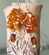 "Amber Earrings Dangle Baltic Amber Earrings  2.75"" long"