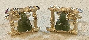 Pair of Vintage Gold Tone Bamboo Carved Jade Buddha Cufflinks by Swank