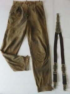 Herren Trachten Wildlederhose Größe 52 - braun-antik - Lederhose mit Hosenträger