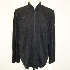 NWT Alex Evenings Womens Sparkle Beaded Shoulder Pads Zip Cardigan Sweater 1X