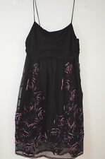 Only Hearts Black Spaghetti Strap Floral Embellished 100% Rayon Dress Size L