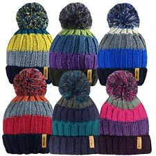 Mens Ladies Striped Designed Rockjock Ski Bobble Hats Thermal Winter Warm Wear