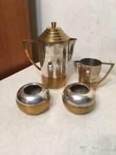 Vintage Art Deco Machine Age Brass Silver Or Chrome Plate Teapot Coffee Set