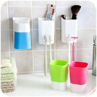 Plastic Storage Rack Box Toothbrush Toothpaste Holder Wall Sucker Bathroom