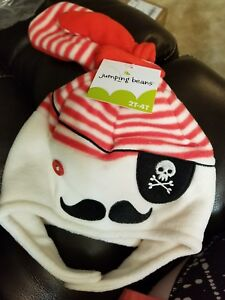 Jumping Beans Pirate Fleece Cap Hat with Mittens Toddler Boys 2-4 Years NEW