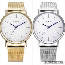 Geneva Hombre Mujer Reloj Oro Plata Acero Inoxidable Malla Banda Relojes Pulsera
