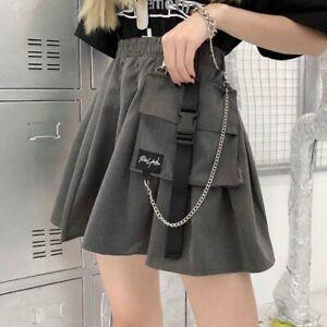Women Girl Punk Cargo Skirt Retro Pocket Pleated Japanese Sexy Goth Chain Skirts