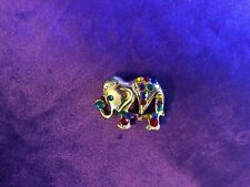 pin with colored glass decoration Gold tone Elephant brooch /
