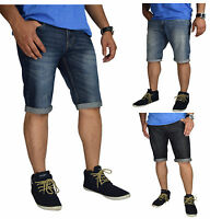 Mens Denim Chino Shorts Summer Half Pant Casual Jeans Cargo Combat Denim roll-up