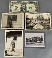 Lot of 4 Original WWII Photos US Army Camp Gas Mask Guns Vehicles Soldiers Named
