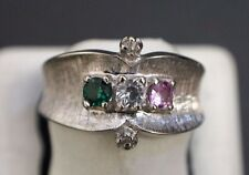 White Gold 14 K Signed TIARA 3 Color Stones Band Ring Size 6.75
