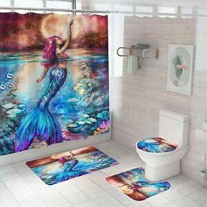 Mermaid Shower Curtain Bathroom Rug Set Bath Mat Non-Slip Toilet Lid Cover