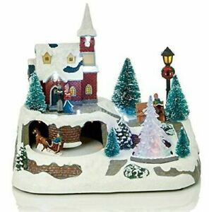 LED Light Up Animated Village Christmas Carousel 21cm High with 2 Turntables