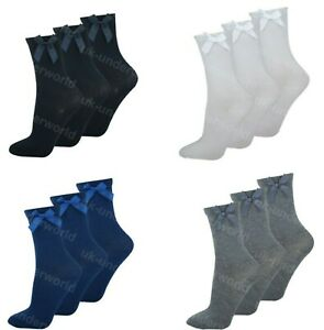 Girls Ankle Socks With Satin Bow 3 Pairs Ladies Childrens Back To School Uniform