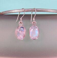 """1/2"""" Rainbow Moonstone Crystal  Handmade 925 Sterling Silver Drop Earrings"""